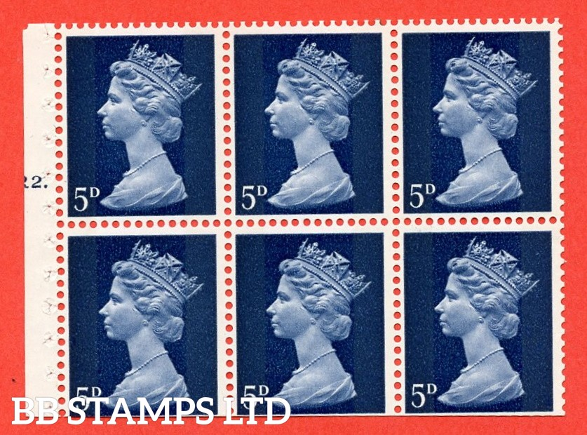 UB19 5d 2 Bands. UNMOUNTED MINT Complete Pre decimal machin Cylinder Pane of 6 R2T Dot . (UB19) Perf Type Iet. Trimmed Perfs.