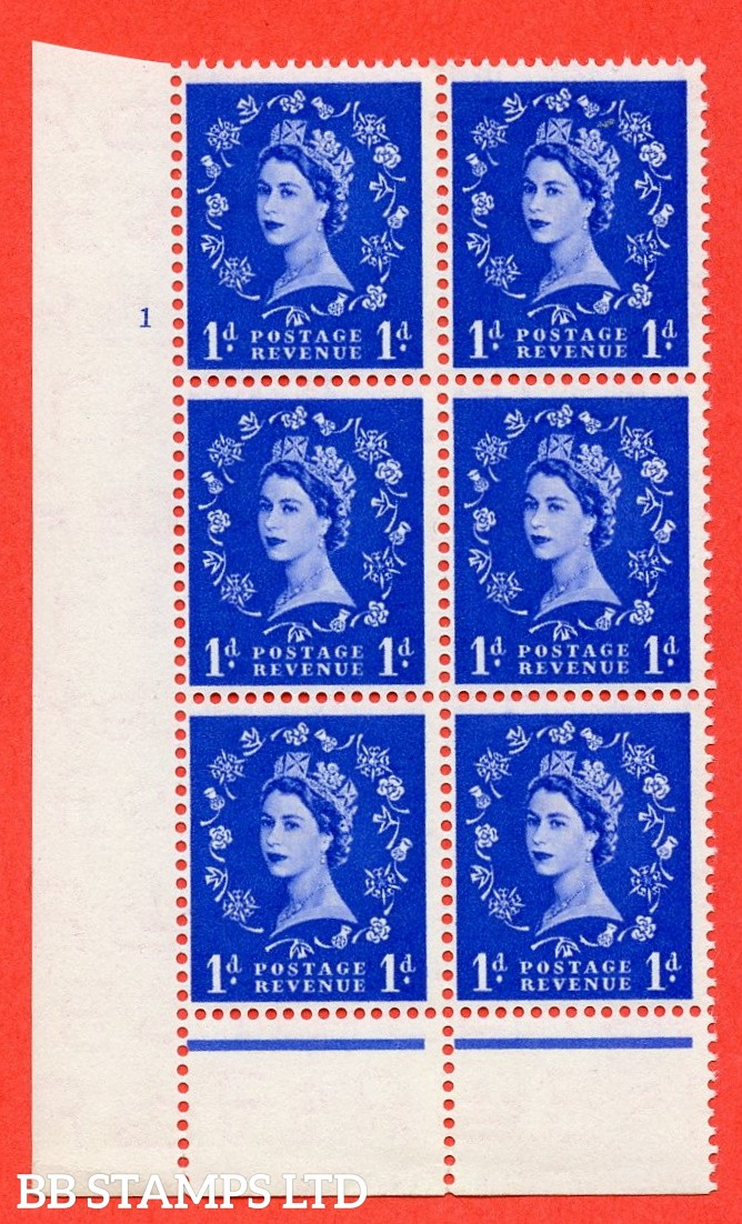 "SG. 516. S13. 1d Ultramarine. A superb UNMOUNTED MINT. "" cylinder 1 no  dot "" control block of 6 with perf type B I/P."