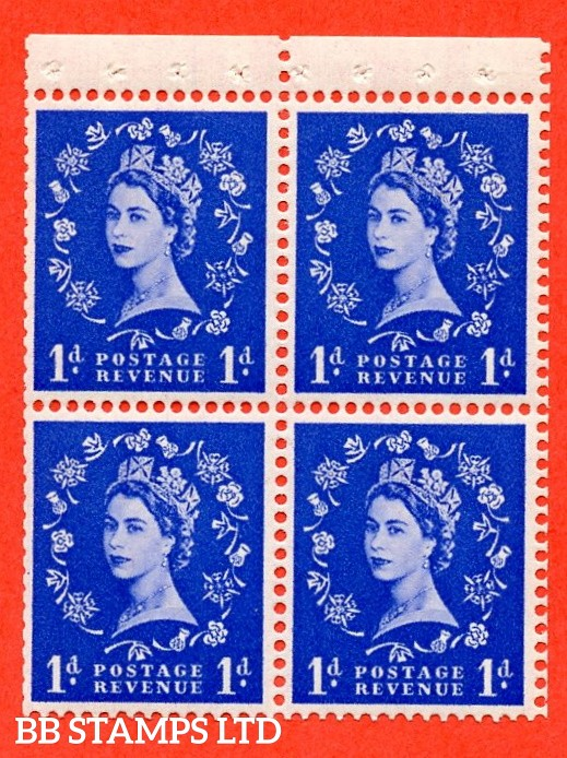 SG. 516. SB21.1d Ultramarine. A fine Mounted Mint. Complete booklet pane of 4 with perf type P. Trimmed perfs.