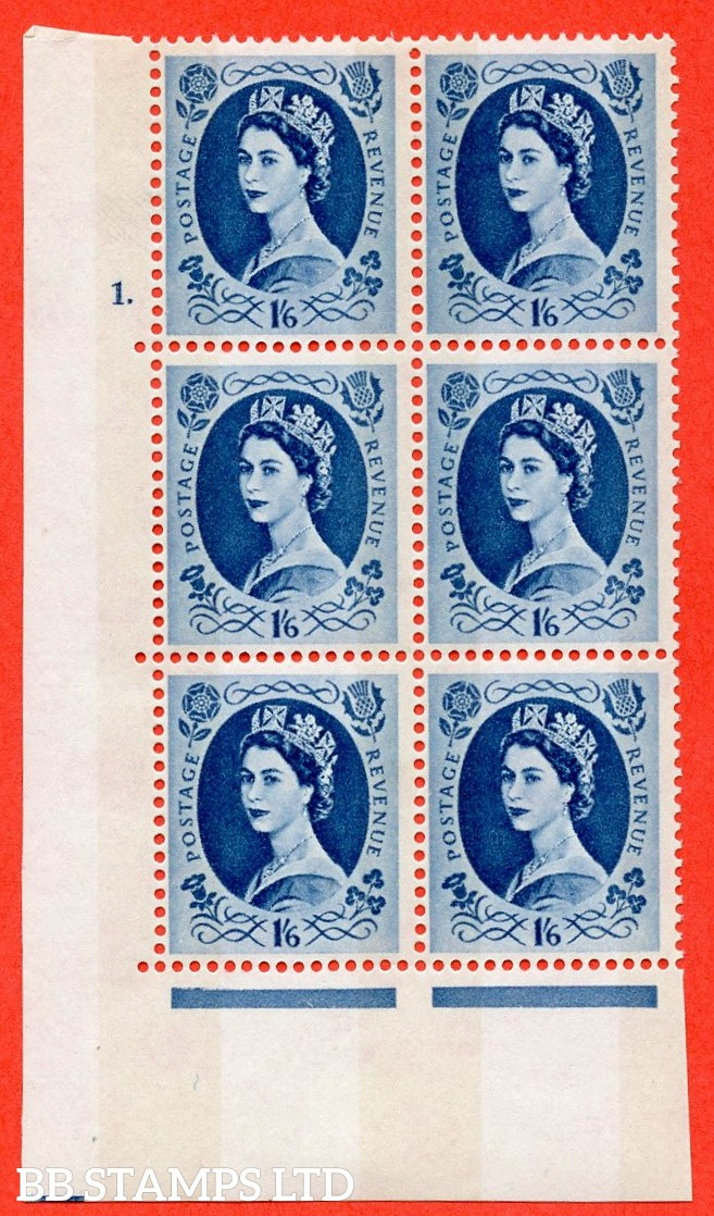 "SG.618a. S154. 1/6d Grey Blue. A fine mounted mint "" cylinder 1 dot "" control block of 6 with perf type A (E/I). violet Phosphor 9½mm Band. Variety White flaw in queens hair R20/1."