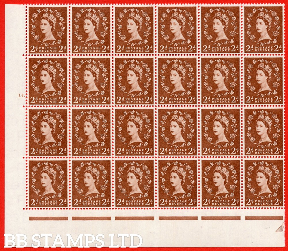 SG. 543b. S38g. 2d. Light Red-brown. A superb MOUNTED MINT example from cylinder 13 dot. corner marginal positional Block of 24. With a Tadpole flaw Retouched ERROR R.17/6 variety. (variety is UM)