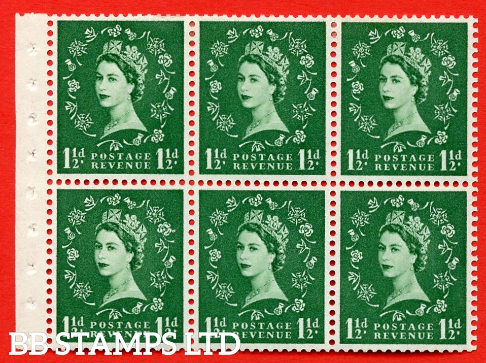 SG. 517. SB59. 1½d green. A fine MOUNTED MINT complete booklet pane of 6. Perf type (Iet) with Good PERFS.