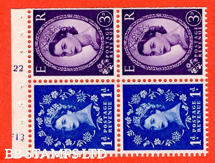 "SG. 571 / 575. SB35. 1d Ultramarine & 3d Deep Lilac. A fine UNMOUNTED MINT cylinder "" F13 (1d) K22 (3d) no dot "" booklet pane of 4. Perf type (I) with TRIMMED PERFS. Smooth edge. White paper"