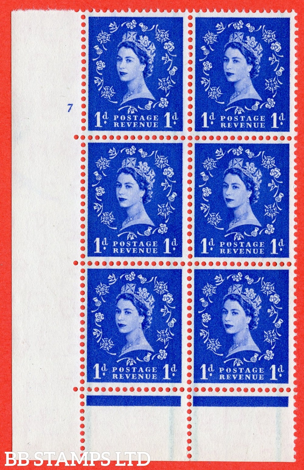 "SG. 562. S15. 1d Ultramarine. A superb UNMOUNTED MINT "" cylinder 7 no dot "" control block of 6 with perf type C E/P."