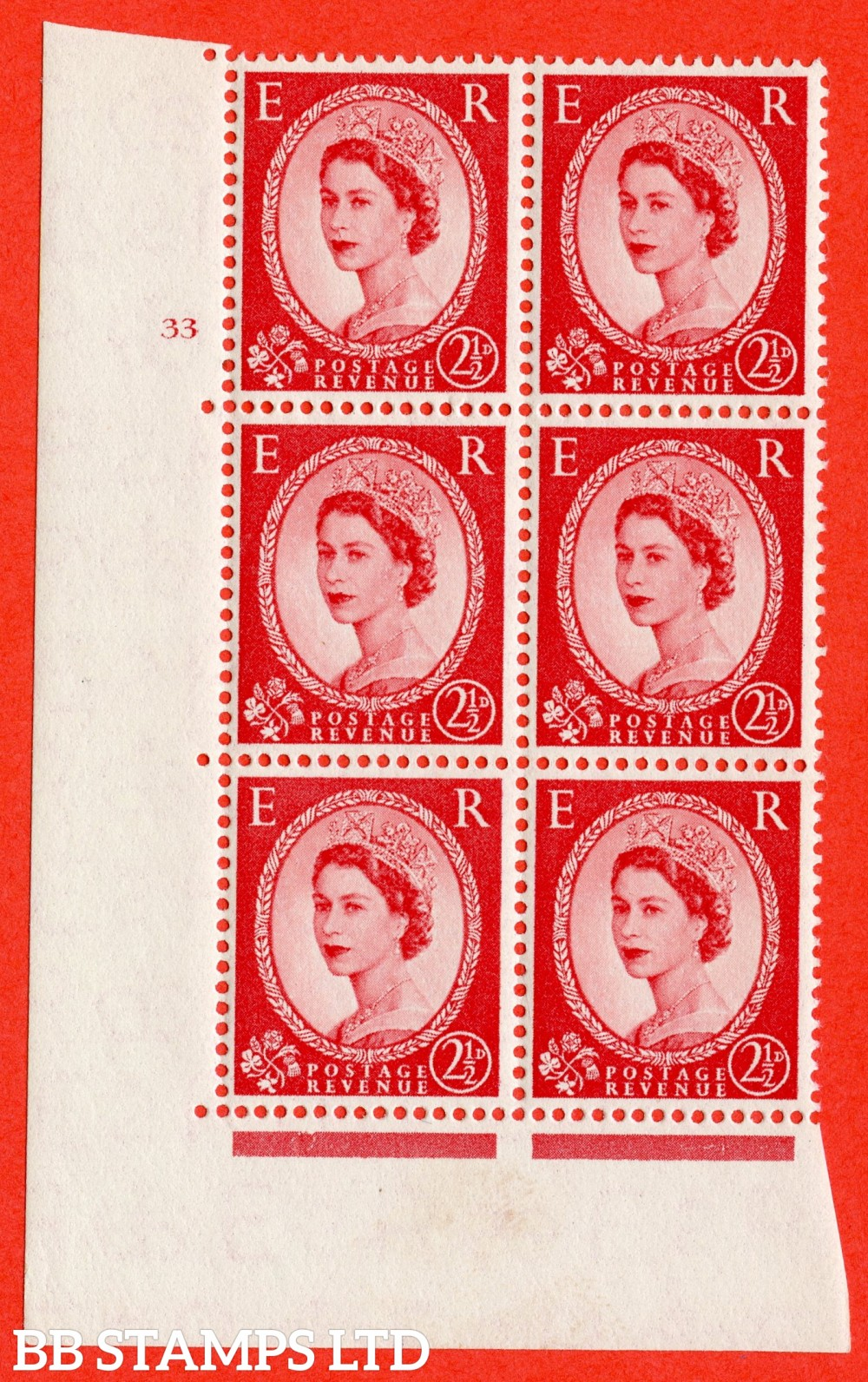 "SG. 544. S52. 2½d. Carmine - Red. A superb UNMOUNTED MINT "" cylinder 33 no dot "" control block of 6 with perf type A E/I."