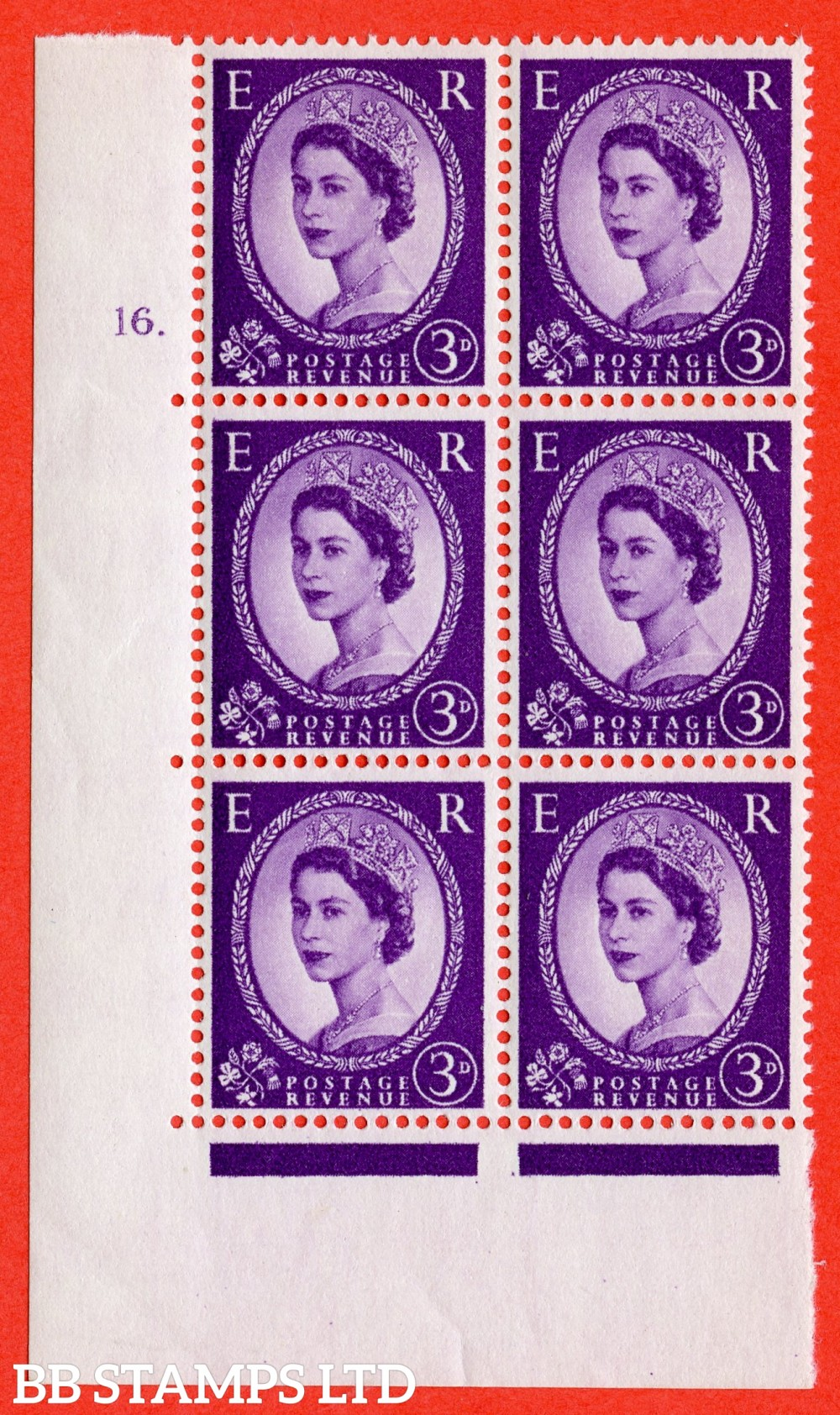 "SG. 545. S68. 3d. Deep - Lilac. A fine lightly mounted mint "" cylinder 16 dot "" control block of 6 with perf type A E/I."