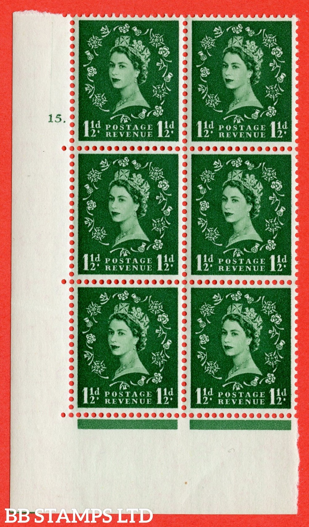 "SG. 542. S26. 1½d. Green. A fine lightly mounted mint "" cylinder 15 dot "" control block of 6 with perf type A E/I."