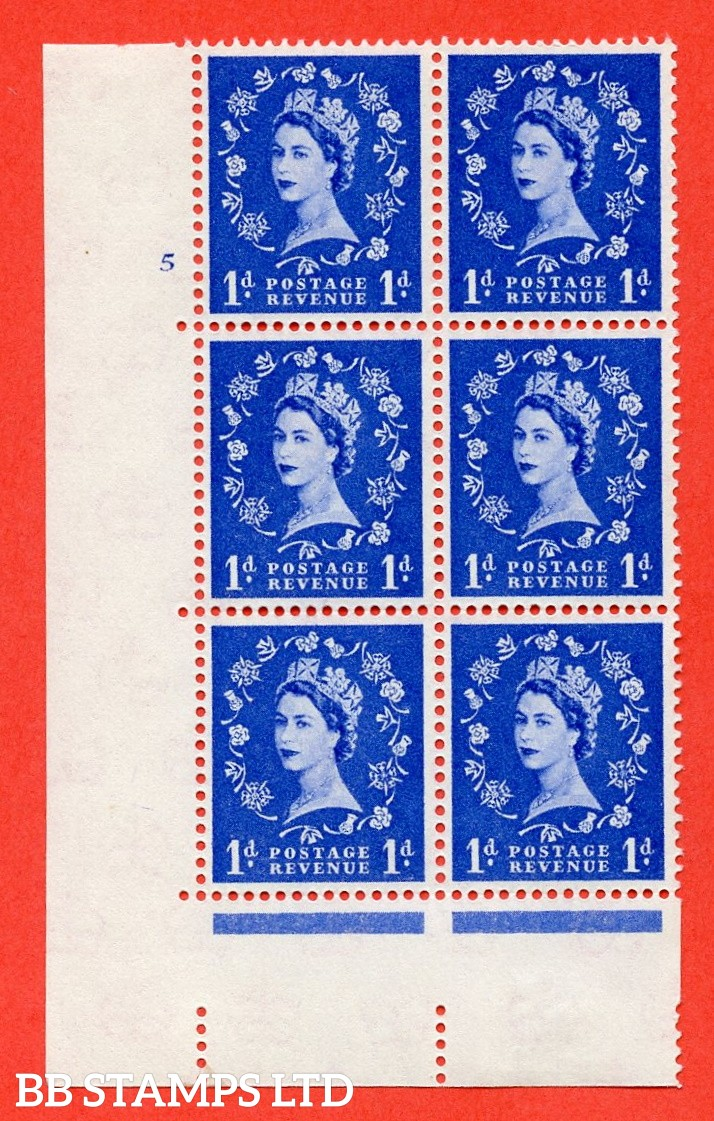 """SG. 571. S16. 1d Ultramarine. A fine mounted mint """" cylinder 5 no dot """" control block of 6 with perf type A E/I. CREAM paper."""