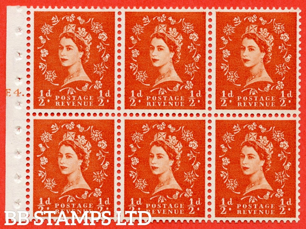 "SG. 540. SB4. ½d orange - red. A fine UNMOUNTED MINT cylinder "" E4 T dot "" booklet pane of 6. Perf type (Ieb) with GOOD PERFS. Smooth edge."