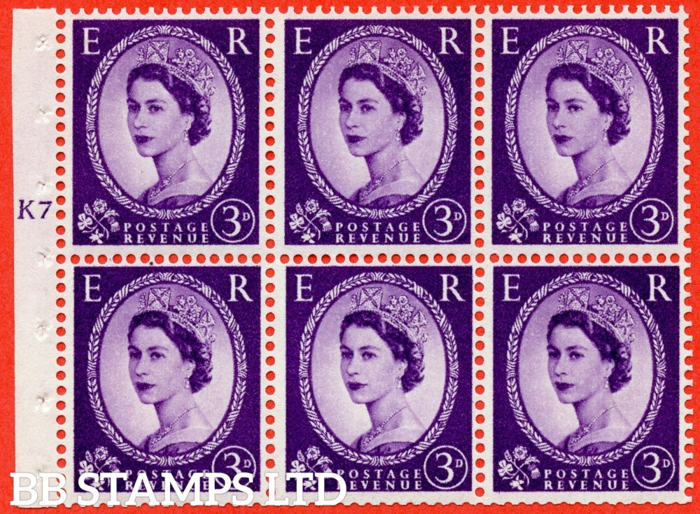 "SG. 545. SB90. 3d Deep Lilac. A fine UNMOUNTED MINT cylinder "" K7 T no dot "" booklet pane of 6. Perf type (I) with TRIMMED PERFS. Smooth edge."