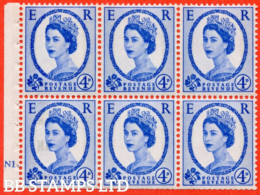 "SG. 616a. SB109. 4d Deep Ultramarine. A fine mounted mint cylinder "" N1 dot "" booklet pane of 6. Perf type (Iet) with TRIMMED PERFS. Smooth edge. White Paper."