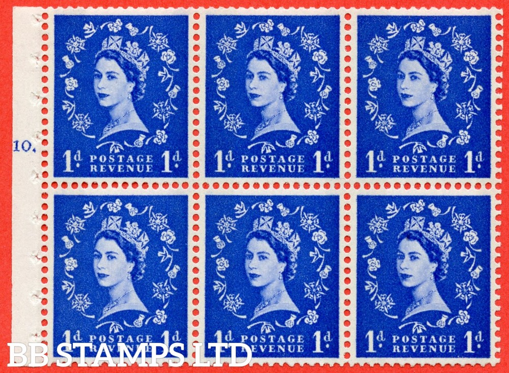 "SG. 611. SB41. 1d Ultramarine. A fine UNMOUNTED MINT cylinder "" F10 T dot "" booklet pane of 6. Perf type (Ieb) with GOOD PERFS. Smooth edge. Cream Paper."