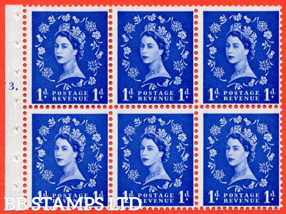 "SG. 571. SB30. 1d Ultramarine. A fine UNMOUNTED MINT cylinder "" F3 T dot "" booklet pane of 6. Perf type (Ieb) with GOOD PERFS. Smooth edge Cream paper."