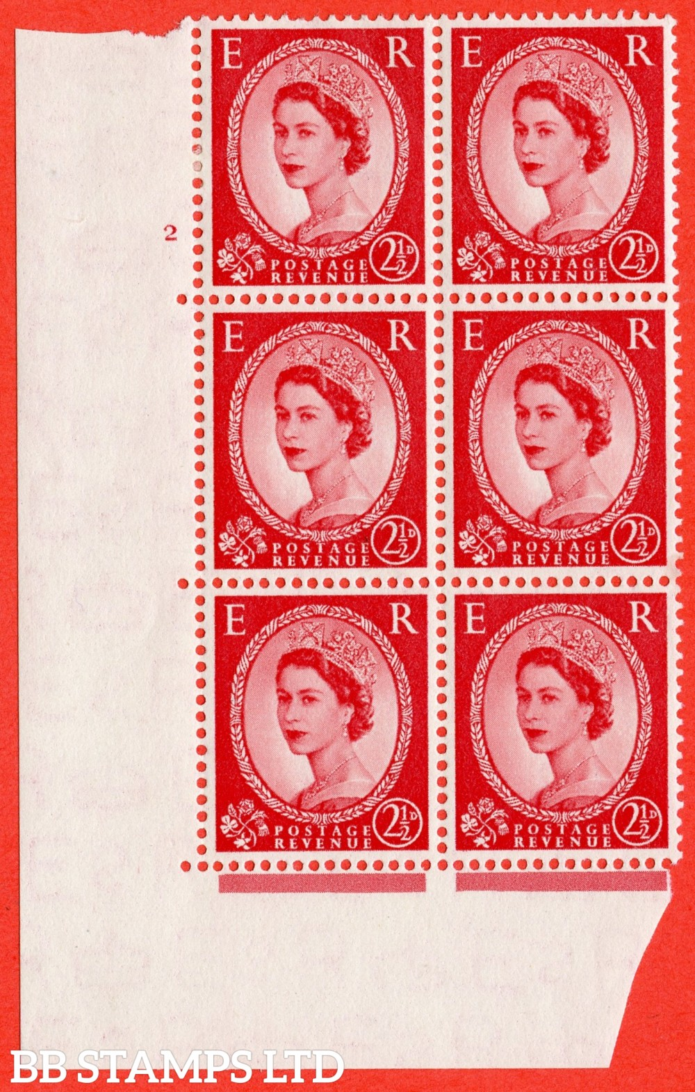 "SG. 519. S50. 2½d Carmine Red. A fine mounted mint "" cylinder 2 no dot "" control block of 6 with perf type A E/I."