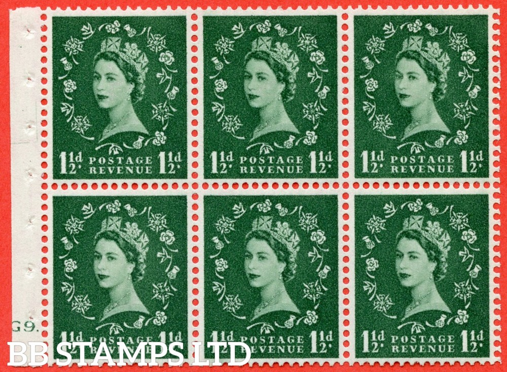"SG. 542. SB62. 1½d green. A fine mounted mint cylinder "" G9 dot "" booklet pane of 6. Perf type (Iet) with TRIMMED PERFS. Smooth edge."