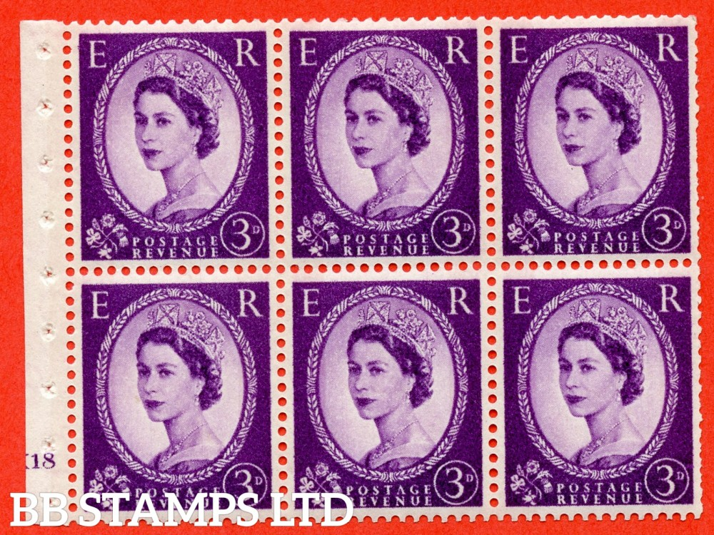 "SG. 615. SB100. 3d Deep Lilac. A fine UNMOUNTED MINT cylinder "" K18 no dot "" booklet pane of 6. Perf type (I) with TRIMMED PERFS. Smooth edge. White Paper."