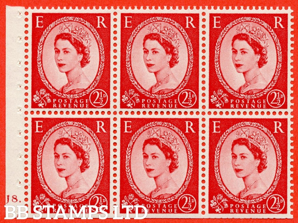 "SG. 544b. SB81. 2½d carmine - red. A fine UNMOUNTED MINT "" J8 dot "" booklet pane of 6. Perf type (Ieb) with TRIMMED PERFS. Smooth edge."