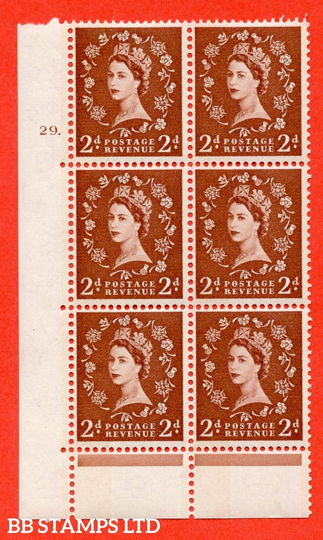 "SG.613a. S46d. 2d Light red brown. Photo. A superb UNMOUNTED MINT "" cylinder 29 dot "" control block of 6 with perf type C (E/P). Blue Phosphor Cream paper."