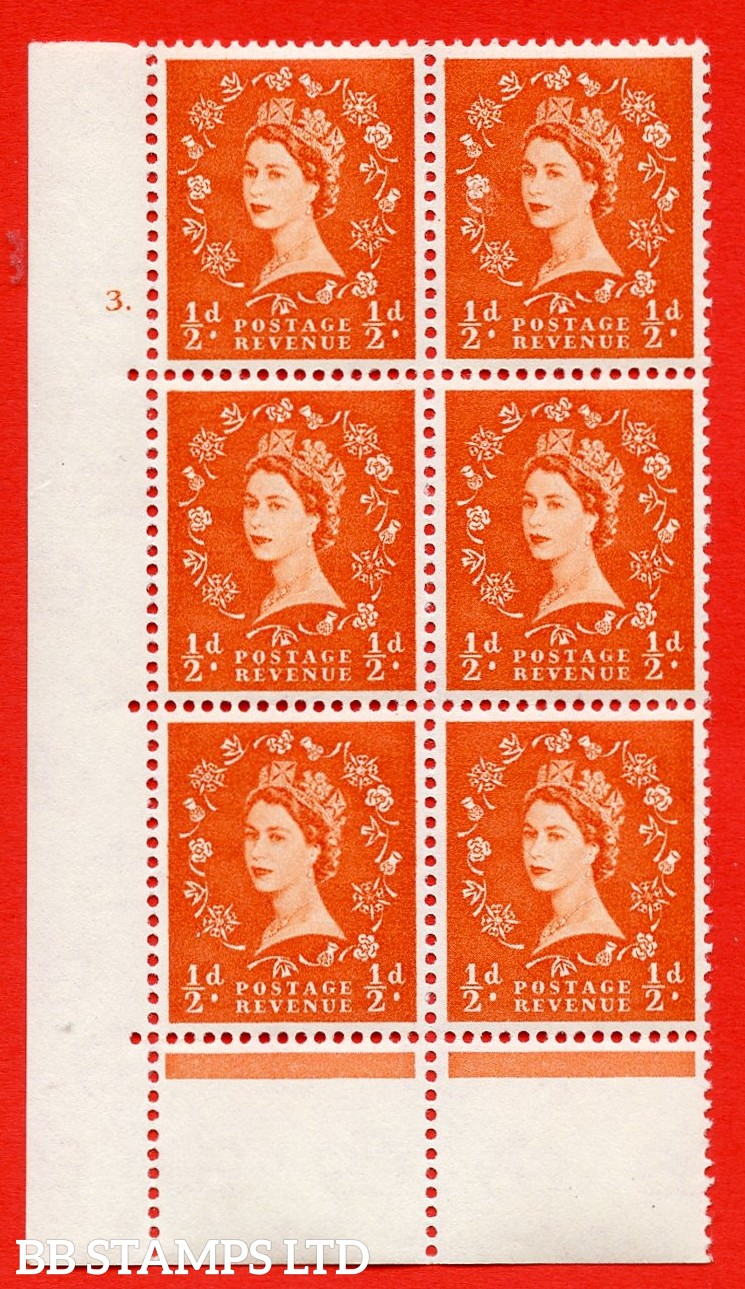 """SG. 570. S4. ½d Orange. A superb UNMOUNTED MINT """" cylinder 3 dot """" control block of 6 with perf type C E/P. CREAM paper."""