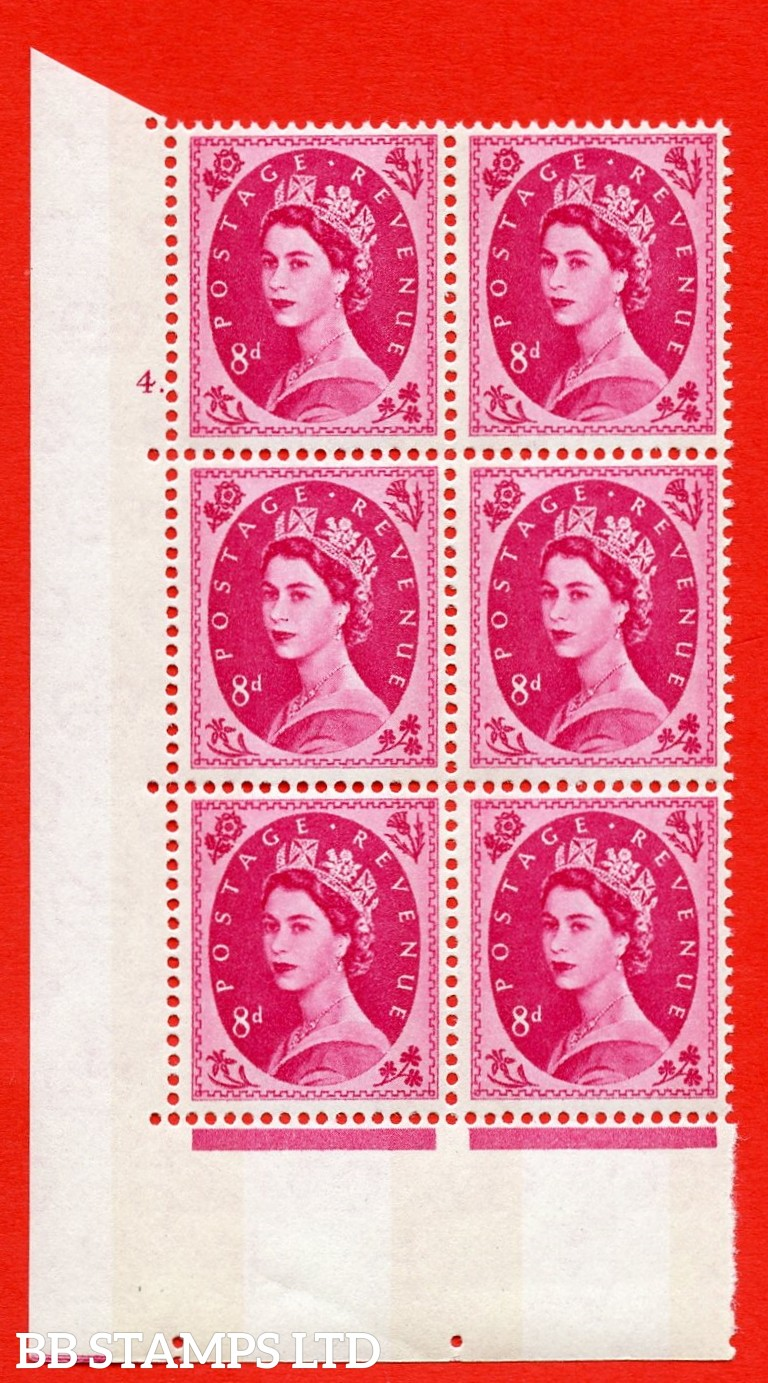 "SG.617b. S123. 8d Magenta. A superb UNMOUNTED MINT "" cylinder 4 dot "" control block of 6 with perf type A (E/I). violet Phosphor 9½mm Band."