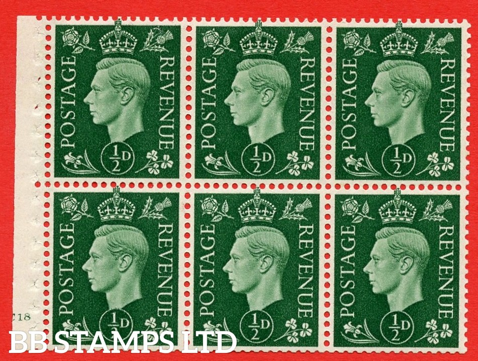 SG. QB1 Perf Type B4(E). ½d Green x 6 Pane, UNMOUNTED MINT Watermark Upright. Cylinder Pane E18 no dot ( SG. 462b ) Perf Type B4(E). Good Perfs.