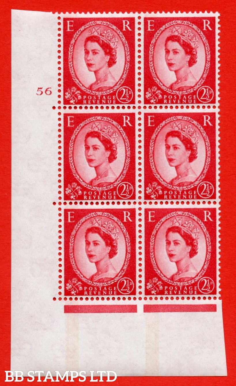 "SG.614a. S65. 2½d Carmine red. LB Photo. A superb UNMOUNTED MINT "" cylinder 56 no dot "" control block of 6 with perf type A (E/I). Blue Phosphor White paper"