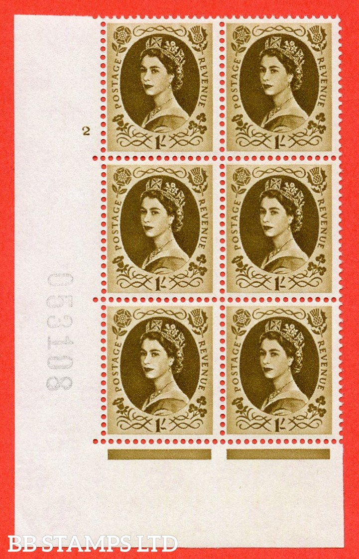 "SG. 584. S139. 1s Bistre-brown. A superb UNMOUNTED MINT "" cylinder 2 no dot "" control block of 6 with perf type A E/I. WHITE paper."
