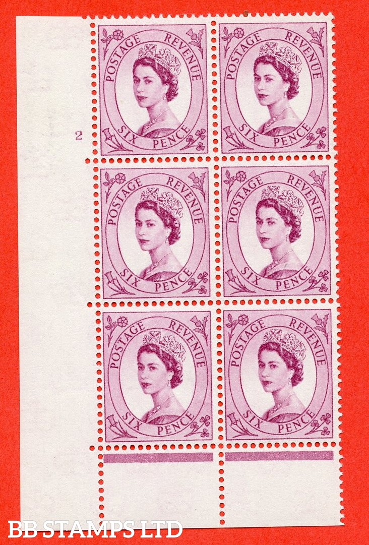 "SG. 579 S107. 6d Deep claret  A superb UNMOUNTED MINT "" cylinder 2 no dot "" control block of 6 with perf type C (E/P)."