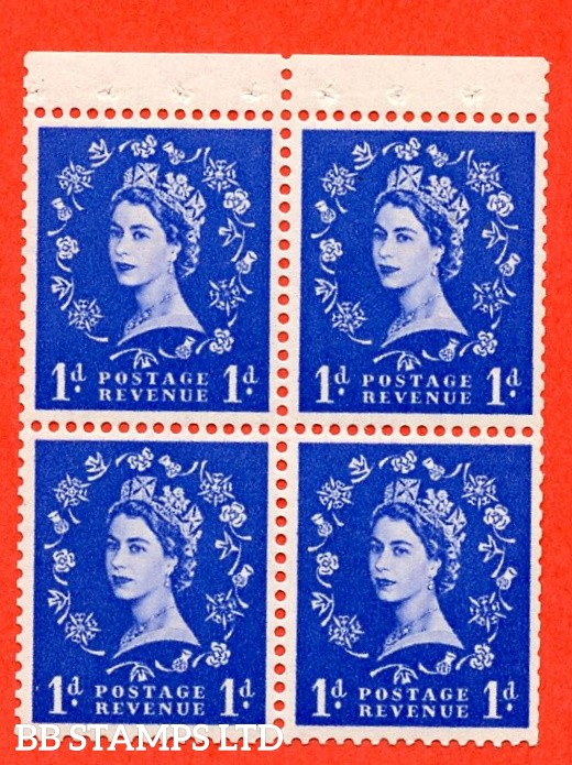 SG. 516. SB21.1d Ultramarine. A Superb UNMOUNTED MINT. Complete booklet pane of 4 with perf type P. Trimmed perfs.