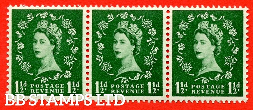 SG. 517a. S25n. 1½d Green. A superb UNMOUNTED MINT Coil strip of 3. Sideways Watermark. Variety Dot over rose (sideways coil,Roll 10).