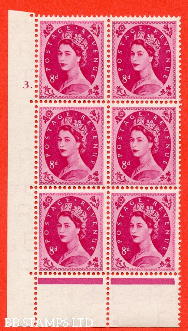 "SG. 525. S119. 8d Magenta. A fine mounted mint "" cylinder 3 dot "" control block of 6 with perf type A E/P."