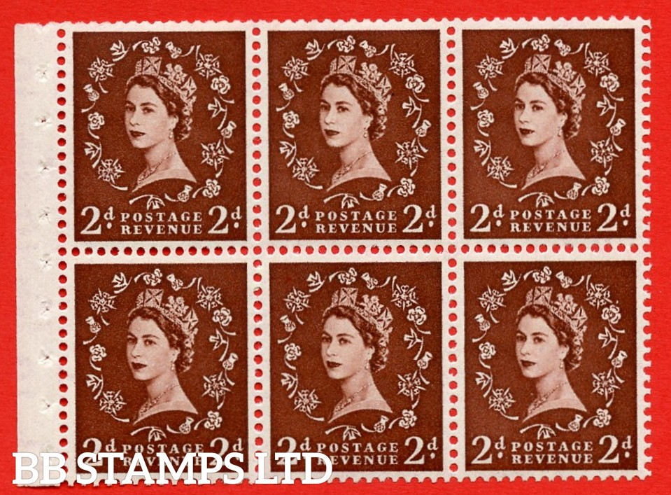 SG. 518. SB76. 2d red - brown. A fine MOUNTED MINT booklet pane of 6. Perf type (IS) with Good PERFS.