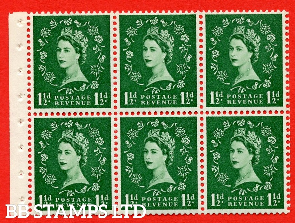 SG. 517. SB59. 1½d green. A fine UNMOUNTED MINT complete booklet pane of 6. Perf type (Iet) with Good PERFS.