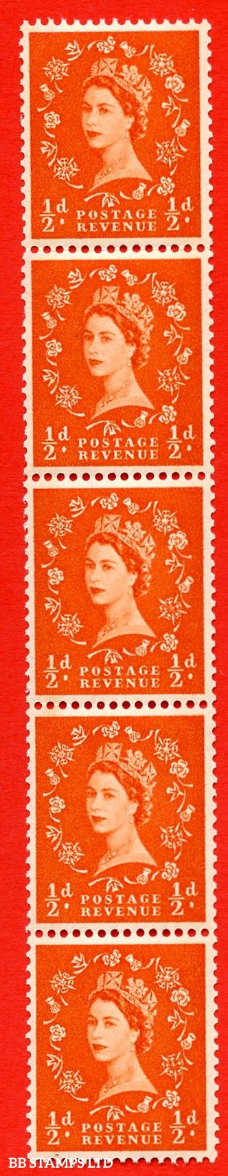 SG.610. S10g. ½d Orange red. A superb UNMOUNTED MINT example. Coil strip of 5. Blue phosphor cream paper. With a shamrock flaw ERROR. Roll 11 variety.