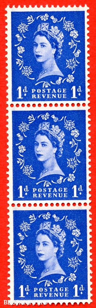 SG. 562. S15a. 1d Ultramarine. A superb UNMOUNTED MINT example. Upright coil strip of 3. With a spot on thistle head. ERROR. Roll 1 variety.
