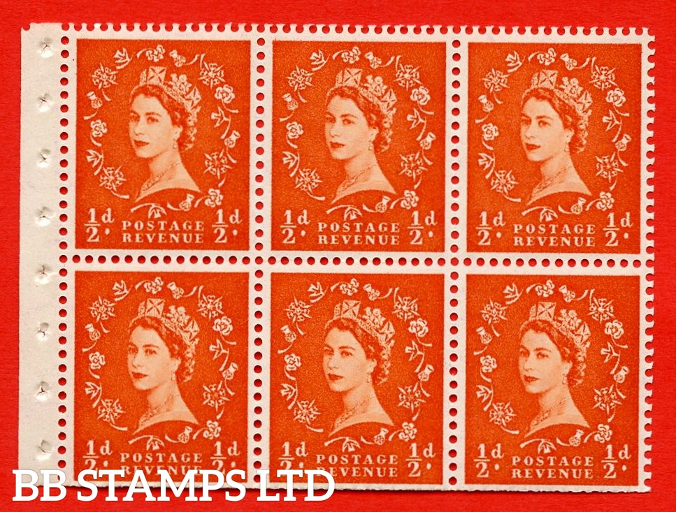 SG. 515. SB1. ½d orange - red. A fine UNMOUNTED MINTexample. Complete Booklet pane of 6. Perf Type Iet. Trimmed perfs.