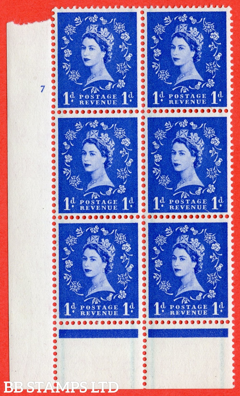"SG. 562. S15. 1d Ultramarine. A fine lightly mounted mint "" cylinder 7 no dot "" control block of 6 with perf type B I/P."