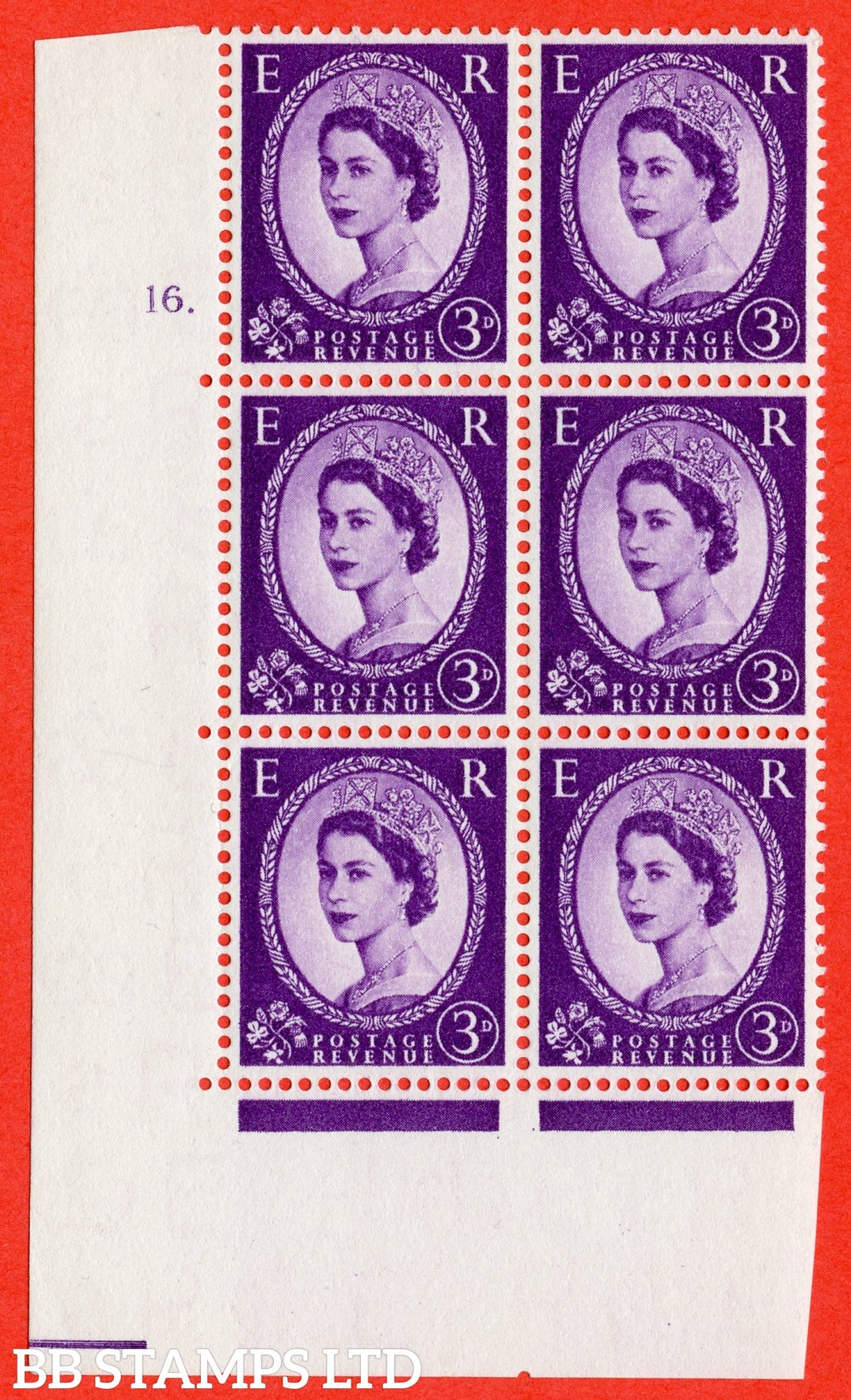 "SG. 545. S68. 3d. Deep - Lilac. A superb UNMOUNTED MINT "" cylinder 16 dot "" control block of 6 with perf type A E/I."