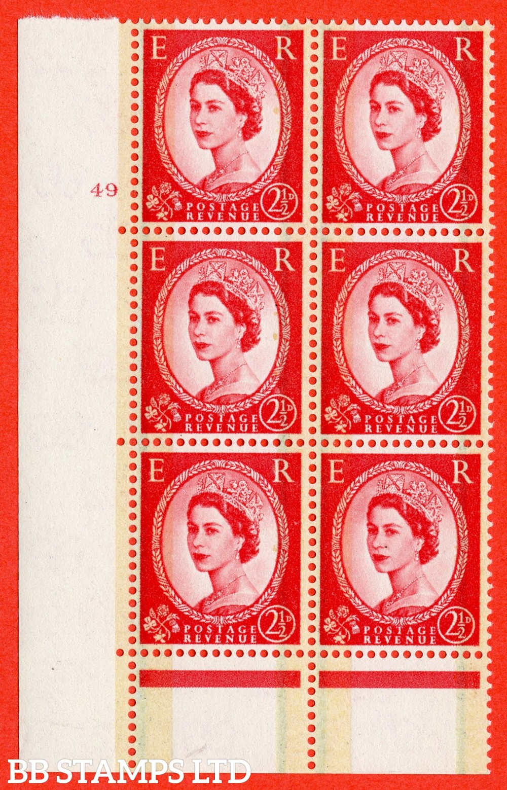 "SG. 606. S60. 2½d Carmine - red. A fine lightly mounted mint "" cylinder 49 no dot "" control block of 6 with perf type C E/P."