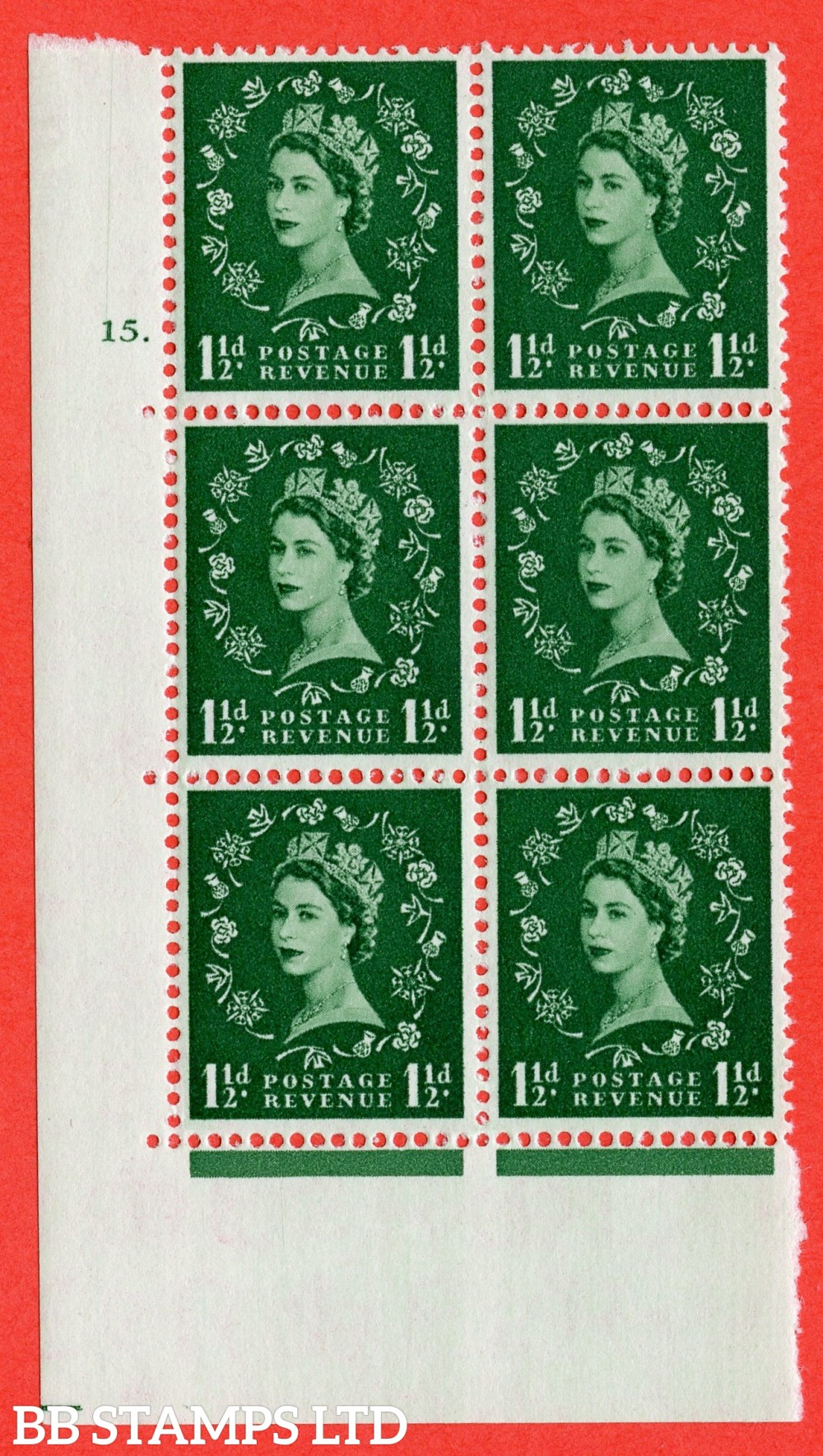 "SG. 542. S26. 1½d. Green. A superb UNMOUNTED MINT "" cylinder 15 dot "" control block of 6 with perf type A E/I."