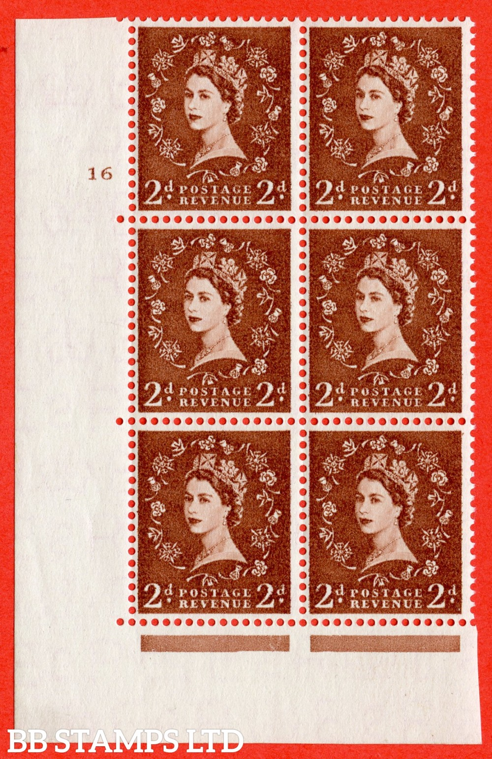 "SG. 543b. S38. 2d. Light Red-brown. A fine lightly mounted mint "" cylinder 16 no dot "" control block of 6 with perf type A E/I."