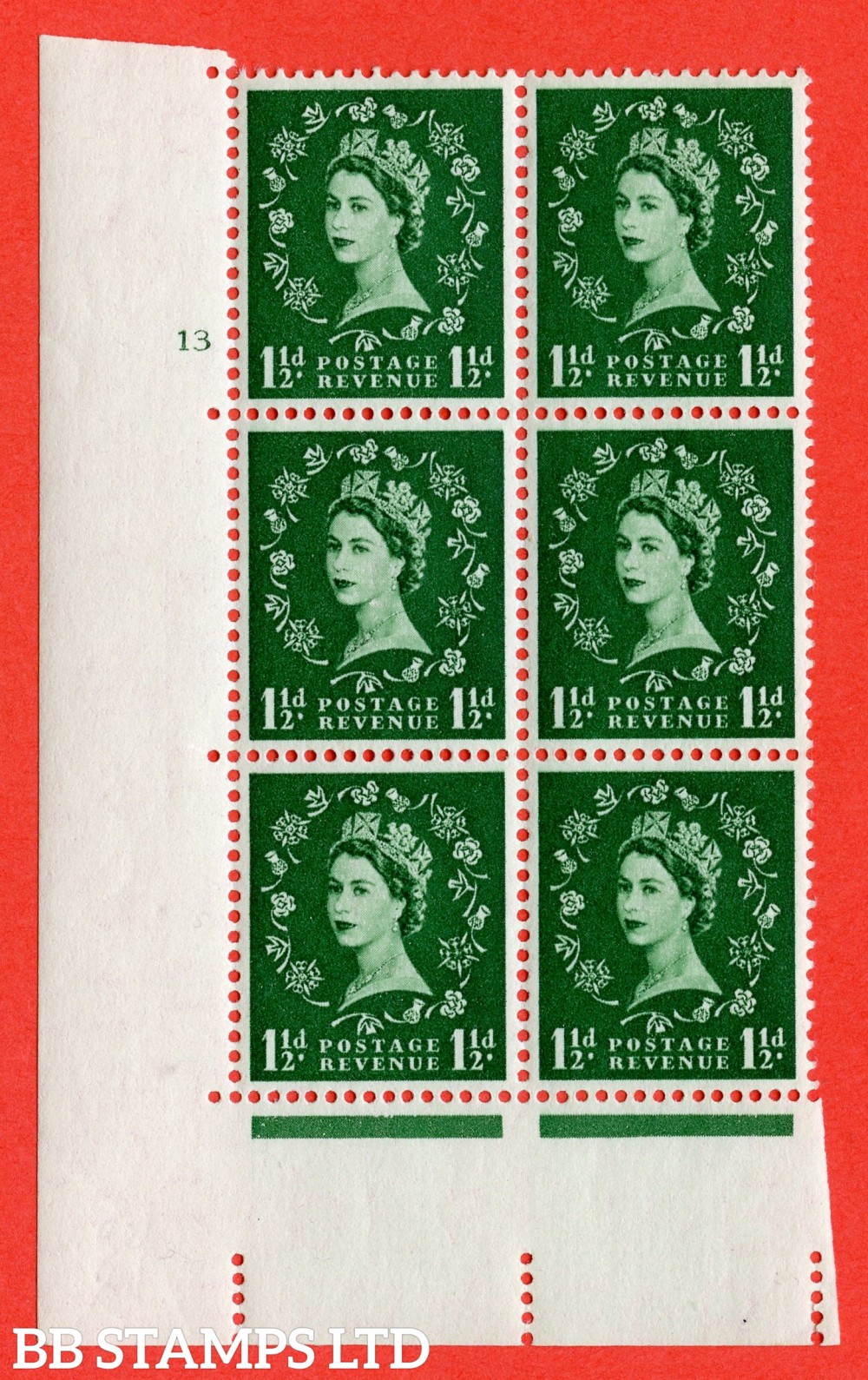 """SG. 542. S26. 1½d. Green. A superb UNMOUNTED MINT """" cylinder 13 no dot """" control block of 6 with perf type A E/I"""