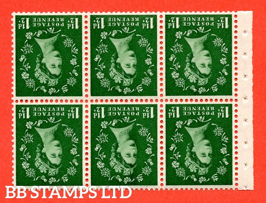 SG. 517Lwi. SB59a. 1½d green. A fine UNMOUNTED MINT. WATERMARK INVERTED. complete booklet pane of 6. Perf type (IR) with Good PERFS.
