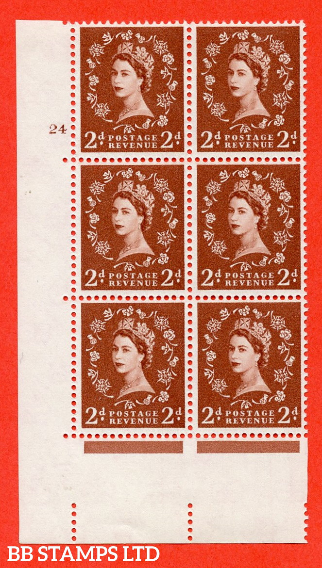 """SG. 573. S40. 2d light red brown . A fine mounted mint """" cylinder 24 no dot """" control block of 6 with perf type A E/I. CREAM paper."""