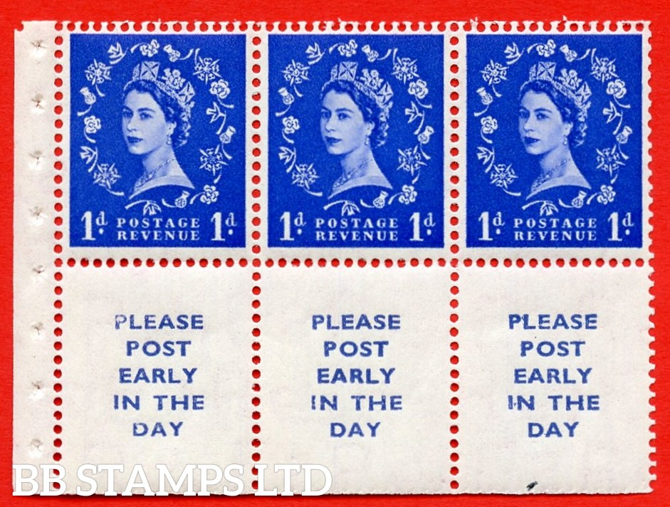 SG. 516La. SB24. 1d ultramarine. A fine UNMOUNTED MINT Complete booklet pane of 6. Perf type (Iet) with Trimmed PERFS.