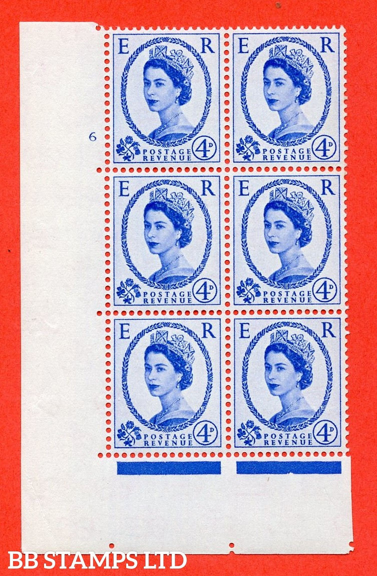 "SG S83. 4d ultramarine  A superb UNMOUNTED MINT "" cylinder 6 no dot "" control block of 6 with perf type A (E/I). Crowns Cream Paper."
