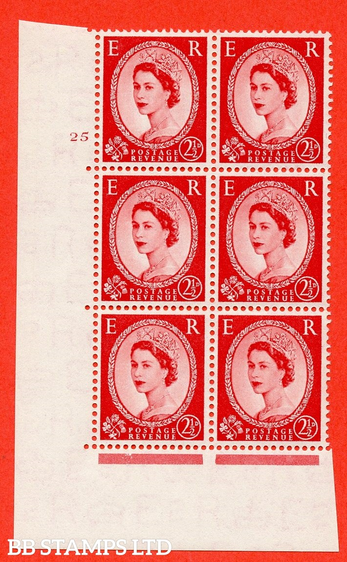 "SG. 519. S50. 2½d Carmine Red. A fine mounted mint "" cylinder 25 no dot "" control block of 6 with perf type A E/I."