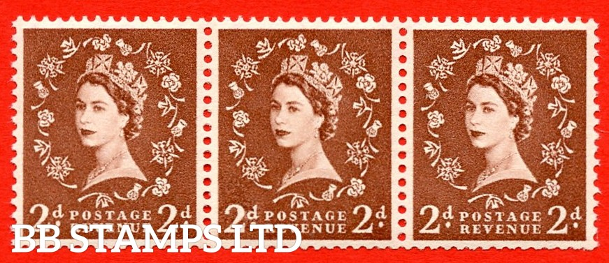 "SG. 543bd. S38t. 2d. Light Red-brown. A superb MOUNTED MINT example. Coil strip of 3. WATERMARK sideways left. With a retouched left ""2"".ERROR. Roll 5 variety."