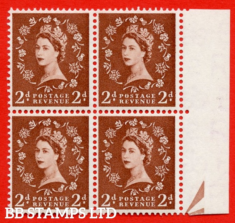 SG. 543b. S38o. 2d. Light Red-brown. A superb UNMOUNTED MINT example from cylinder 11 no dot. Right marginal positional Block of 4. With a White flaw on crown ERROR R. 9/11 variety.
