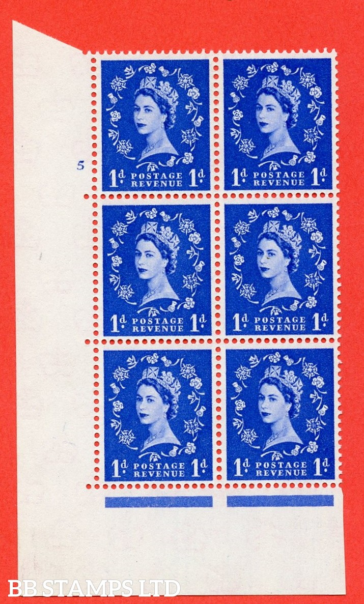 "SG. 571. S16. 1d Ultramarine. A fine mounted mint "" cylinder 5 no dot "" control block of 6 with perf type A E/I. CREAM paper."
